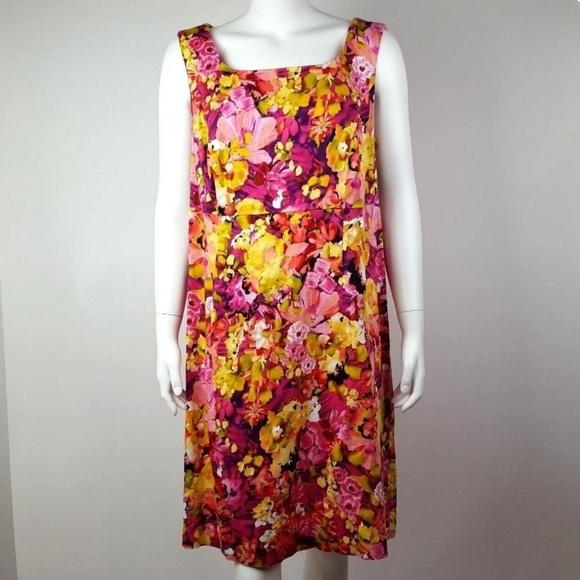 Dress Barn Dresses Dressbarn Pink Yellow Floral Dress Plus Size 16